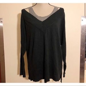 Vneck sweater with built in under tank